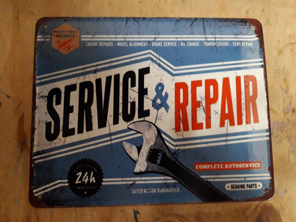 service & rapair blauw